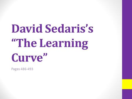 the learning curve essay by david sedaris