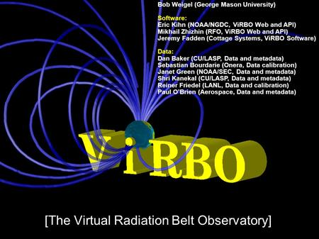 [The Virtual Radiation Belt Observatory] Bob Weigel (George Mason University) Software: Eric Kihn (NOAA/NGDC, ViRBO Web and API) Mikhail Zhizhin (RFO,