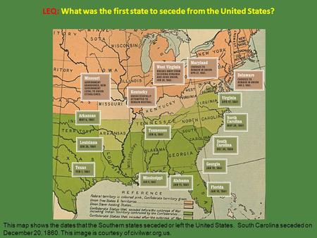 LEQ What Agreement Admitted California To The Union As A Free - Us map dates of secession
