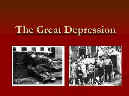 The Great Depression. The Roaring Twenties Following the end of WWI, Americans were ready for life to go back to normal. Following the end of WWI, Americans.