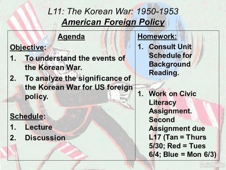 L11: The Korean War: 1950-1953 American Foreign Policy Agenda Objective: 1.To understand the events of the Korean War. 2.To analyze the significance of.