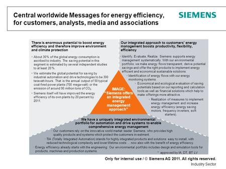 Only for internal use / © Siemens AG 2011. All rights reserved. Industry Sector Central worldwide Messages for energy efficiency, for customers, analysts,