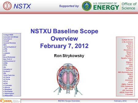 December 15-16, 2009 NSTX Upgrade <strong>Project</strong> - Office of Science ReviewNSTXU Scope Overview 1 February, 2012 1 NSTX Supported by College W&M Colorado Sch.