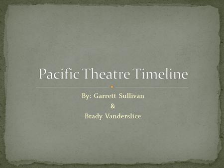 Pacific Theatre Timeline