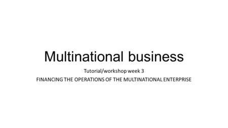 Multinational business
