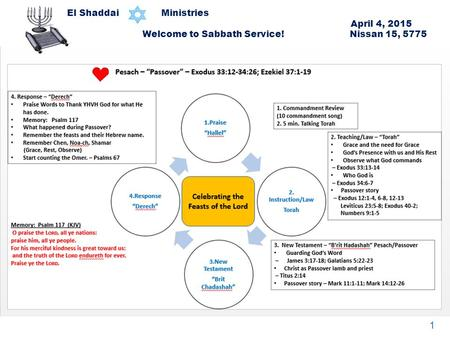 El Shaddai Ministries April 4, 2015 Welcome to Sabbath Service! Nissan 15, 5775 1.