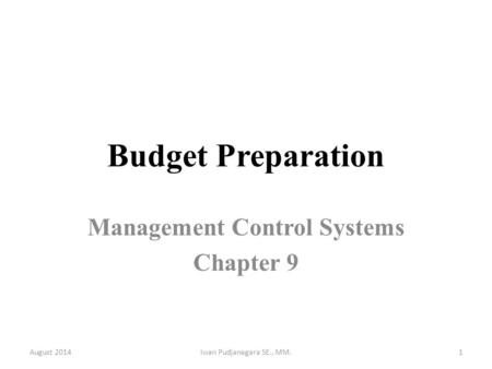 Management Control Systems Chapter 9