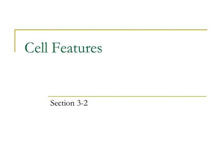 Cell Features Section 3-2. What is the Cell Theory? All living things are made of one or more cells. Cells are the basic units of structure and function.