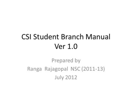 CSI Student Branch Manual Ver 1.0