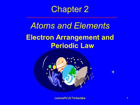 LecturePLUS Timberlake1 Chapter 2 Atoms and Elements Electron Arrangement and Periodic Law.