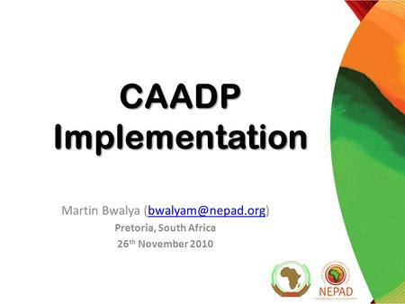 CAADP Implementation Martin Bwalya Pretoria, South Africa 26 th November 2010.