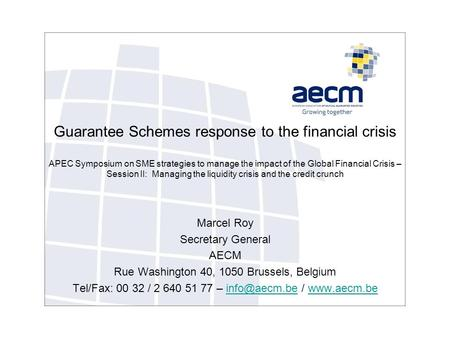 Guarantee Schemes response to the financial crisis APEC Symposium on SME strategies to manage the impact of the Global Financial Crisis – Session II: Managing.
