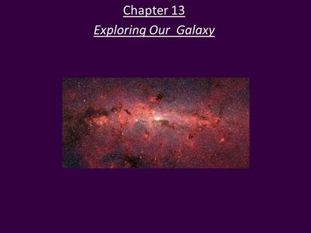 Chapter 13 Exploring Our Galaxy. Our Location in the Milky Way The Milky Way Galaxy is a disk-shaped collection of stars.