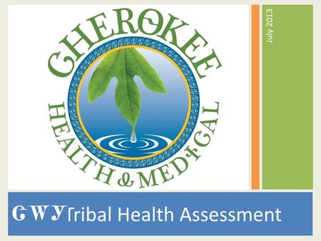 Tribal Health Assessment July 2013. HMD Vision A healthy Cherokee community where all people can enjoy health and wellness in a clean, safe environment,
