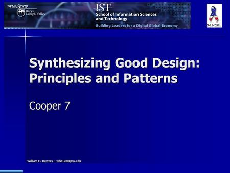 William H. Bowers – Synthesizing Good Design: Principles and Patterns Cooper 7.