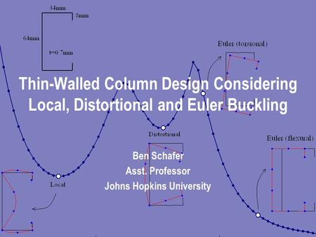 Thin-Walled Column Design Considering Local, Distortional and Euler Buckling Ben Schafer Asst. Professor Johns Hopkins University.