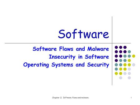 Chapter 11 Software flaws and malware