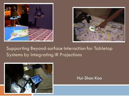 Supporting Beyond-surface Interaction for Tabletop Systems by Integrating IR Projections Hui-Shan Kao.