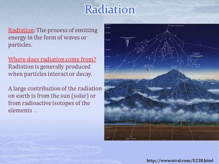 Radiation: The process of emitting energy in the form of waves or particles. Where does radiation come from? Radiation is generally produced when particles.