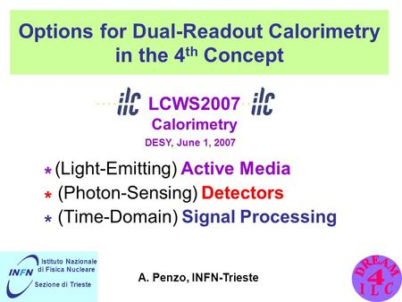 Options for Dual-Readout Calorimetry in the 4 th Concept * (Light-Emitting) Active Media * (Photon-Sensing) Detectors * (Time-Domain) Signal Processing.