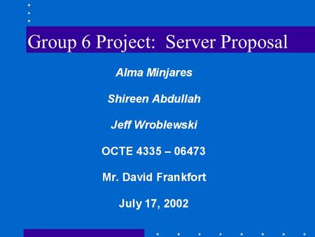 Group 6 Project: Server Proposal. Introduction I. Vendor II. Servers a. Exchange b. Print c. Web d. SQL III. Software IV. Cost.