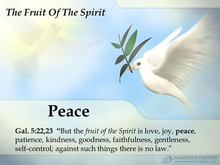 "Peace Gal. 5:22,23 "" But the fruit of the Spirit is love, joy, peace, patience, kindness, goodness, faithfulness, gentleness, self-control; against such."