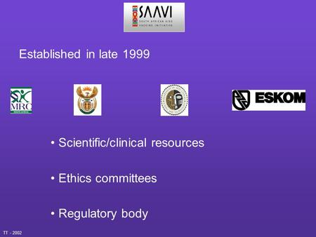 Established in late 1999 Scientific/clinical resources Ethics committees Regulatory body TT - 2002.