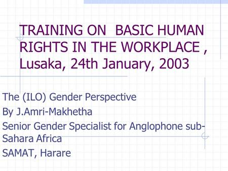 TRAINING ON BASIC HUMAN RIGHTS IN THE WORKPLACE, Lusaka, 24th January, 2003 The (ILO) Gender Perspective By J.Amri-Makhetha Senior Gender Specialist for.