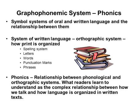 Graphophonemic System – Phonics Symbol systems of oral and written language and the relationship between them System of written language – orthographic.