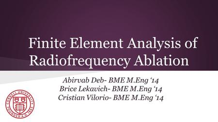Finite Element Analysis of Radiofrequency Ablation Abirvab Deb- BME M.Eng '14 Brice Lekavich- BME M.Eng '14 Cristian Vilorio- BME M.Eng '14.