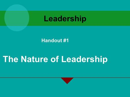 Leadership Handout #1 The Nature of Leadership. Learning Objectives Explain what leadership is, when leaders are effective and ineffective, and the sources.