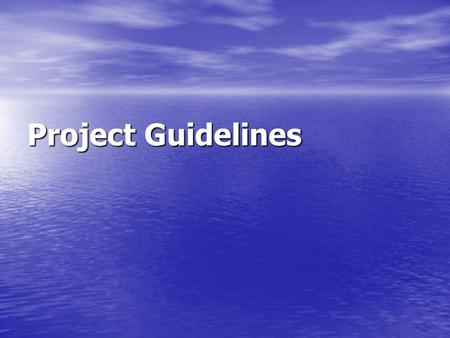 "Project Guidelines. Introduction Introduction should include support/justification ""why"" the research should be done. The focus is on the dependent variable."