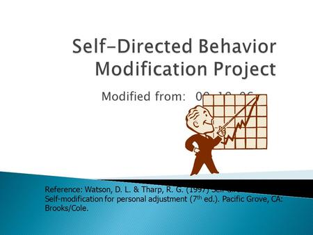Modified from:09-19-06 Reference: Watson, D. L. & Tharp, R. G. (1997) Self-directed behavior: Self-modification for personal adjustment (7 th ed.). Pacific.
