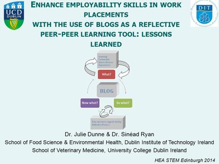 E NHANCE EMPLOYABILITY SKILLS IN WORK PLACEMENTS WITH THE USE OF BLOGS AS A REFLECTIVE PEER - PEER LEARNING TOOL : LESSONS LEARNED Dr. Julie Dunne & Dr.