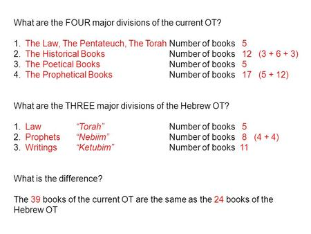 What are the FOUR major divisions of the current OT? 1.The Law, The Pentateuch, The TorahNumber of books 5 2.The Historical BooksNumber of books 12 (3.