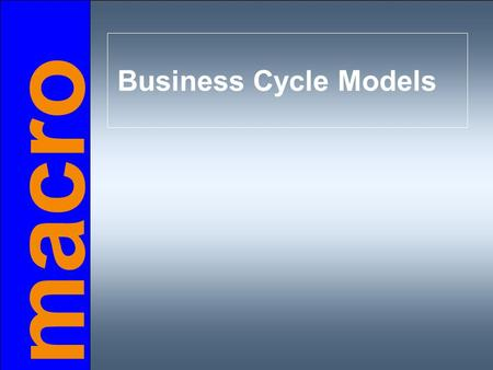 Macro Business Cycle Models. Chapter objectives  difference between short run & long run  introduction to aggregate demand  aggregate supply in the.
