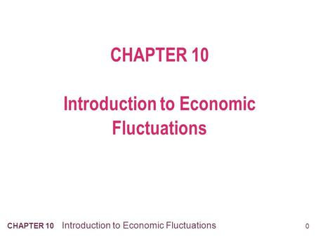 0 CHAPTER 10 Introduction to Economic Fluctuations.