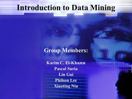 Introduction to Data Mining Group Members: Karim C. El-Khazen Pascal Suria Lin Gui Philsou Lee Xiaoting Niu.