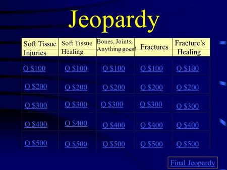 Jeopardy Soft Tissue Injuries Soft Tissue Healing Bones, Joints, Anything goes! Fractures Fracture's Healing Q $100 Q $200 Q $300 Q $400 Q $500 Q $100.