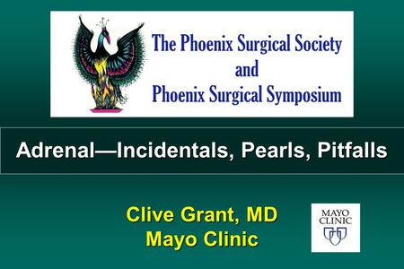 Adrenal—Incidentals, Pearls, Pitfalls Clive Grant, MD Mayo Clinic.