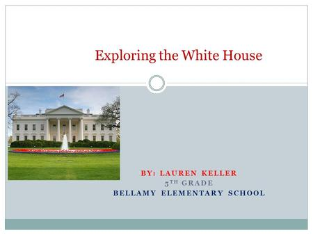 BY: LAUREN KELLER 5 TH GRADE BELLAMY ELEMENTARY SCHOOL Exploring the White House.