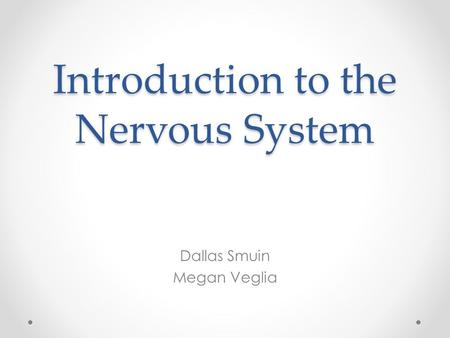 Introduction to the Nervous System Dallas Smuin Megan Veglia.