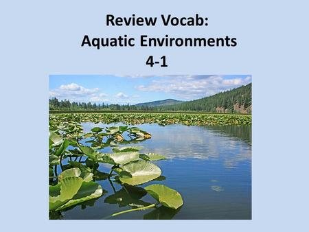 Review Vocab: Aquatic Environments 4-1. a slow-moving body of water where the water seems to stand still; lakes, ponds; and wetlands lentic.