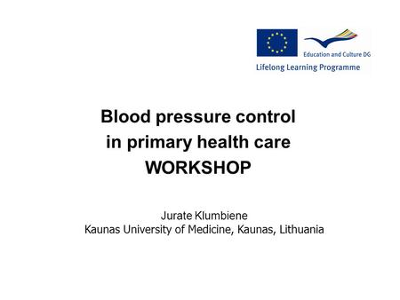 Blood pressure control in primary health care WORKSHOP