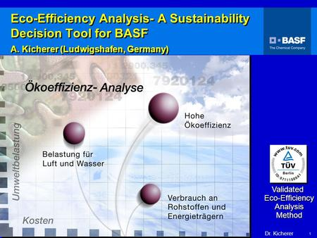 Dr. Kicherer Eco-Efficiency 1 Validated Eco-Efficiency Analysis Method Eco-Efficiency Analysis- A Sustainability Decision Tool for BASF A. Kicherer (Ludwigshafen,