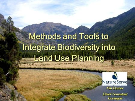 Methods and Tools to Integrate Biodiversity into Land Use Planning Pat Comer Chief Terrestrial Ecologist.