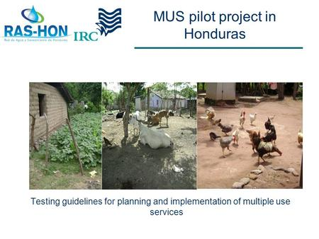 MUS pilot project in Honduras Testing guidelines for planning and implementation of multiple use services.