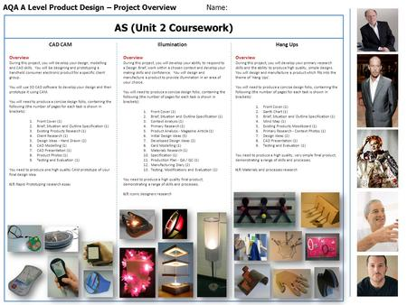 AQA A Level Product Design – Project OverviewName: AS (Unit 2 Coursework) CAD CAMIlluminationHang Ups Overview During this project, you will develop your.