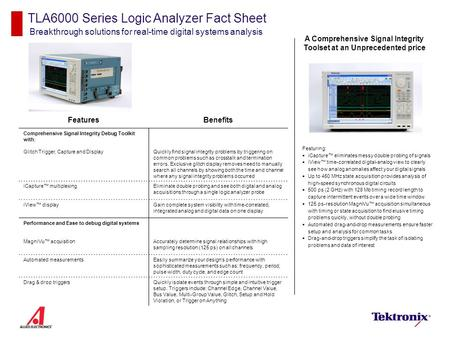 TLA6000 Series Logic Analyzer Fact Sheet Breakthrough solutions for real-time digital systems analysis Featuring:  iCapture™ eliminates messy double probing.