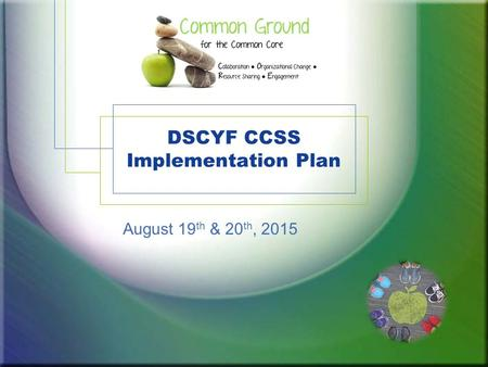 DSCYF CCSS Implementation Plan August 19 th & 20 th, 2015.